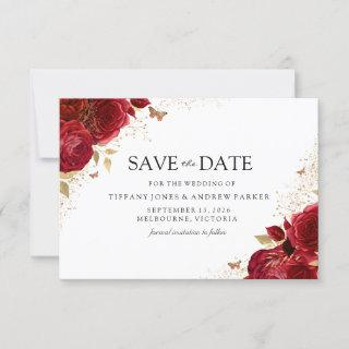 Magical Romantic Red Roses Gold Floral Wedding Save The Date