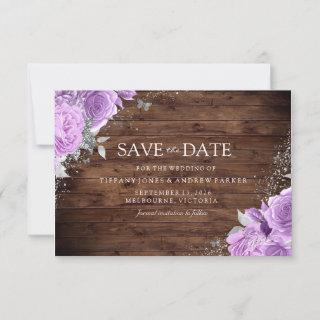 Magical Rustic Purple Lavender Rose Floral Wedding Save The Date