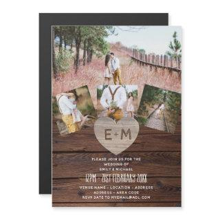 Magnetic Wedding Invite Rustic Photo Collage Barn