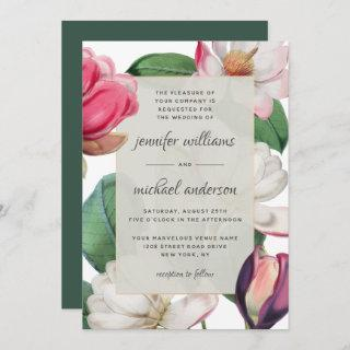 Magnolia Blossoms Romantic Boho Floral Elegant Invitation