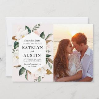 magnolia blush floral photo save the date