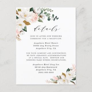 Magnolia Blush Pink Gold and White Floral Wedding Enclosure Card