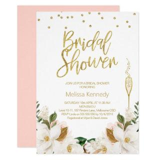 Magnolia Champagne Glass Bridal Shower Invitation