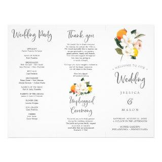 Magnolia Citrus Tri-Fold Wedding Program