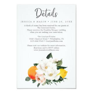 Magnolia Citrus Wedding Details Card
