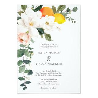 Magnolia Citrus Wedding Invitation