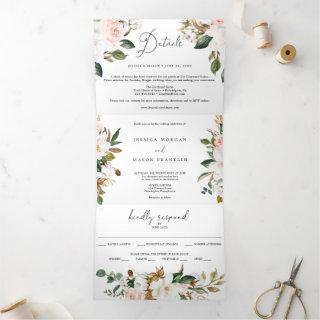 Magnolia Cotton Wedding Tri-Fold Invitations RSVP