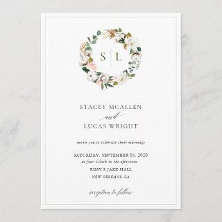 Magnolia Floral Wreath Invitation