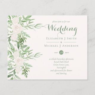 Magnolia Sage Green Floral Wedding Invites BUDGET