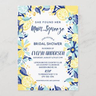 Main Squeeze Yellow Lemons Mint Briday Shower Invitation