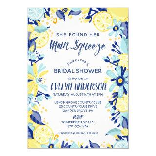 Main Squeeze Yellow Lemons Mint Briday Shower Invitations