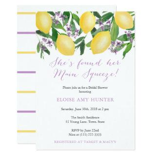 Main Squeeze Yellow Lemons Purple Bridal Shower Invitations