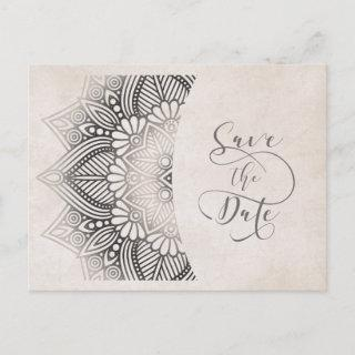 Mandala Lace Save the Date Neutrals ID478 Announcement Postcard