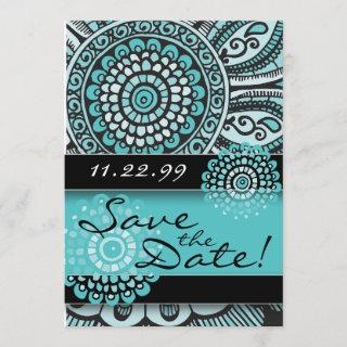 Mandala Lace Turquoise Black Save the Date Wedding