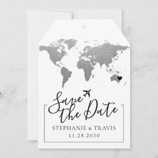 Map Destination Wedding Silver Save the Date Tag