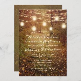 Maple Grove String Light Rustic Wedding Ceremony Invitations