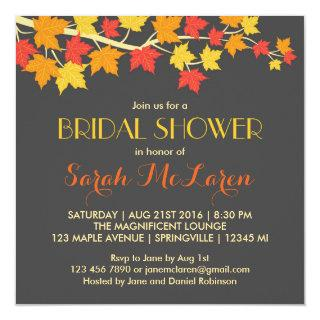 Maple Leaves Autumn Bridal Shower Invitation