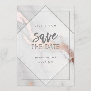MARBLE AND ROSE GOLD EFFECT SAVE THE DATE