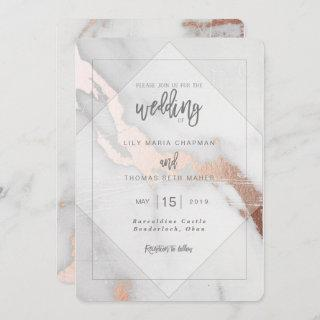 MARBLE AND ROSE GOLD EFFECT WEDDING Invitations