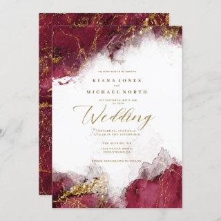 Marble Glitter Wedding Burgundy Gold ID644 Invitations