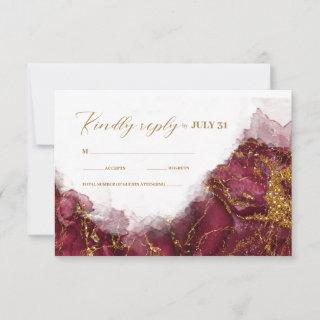 Marble Glitter Wedding Burgundy Gold ID644 RSVP Card