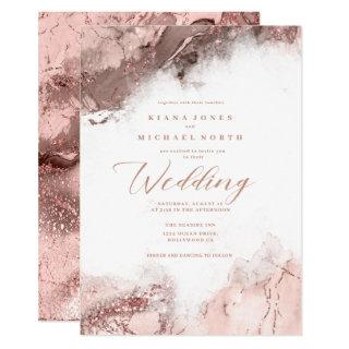 Marble Glitter Wedding Rose Gold ID644 Invitations