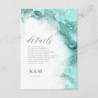 Marble Glitter Wedding Teal Silver ID644 Enclosure Card