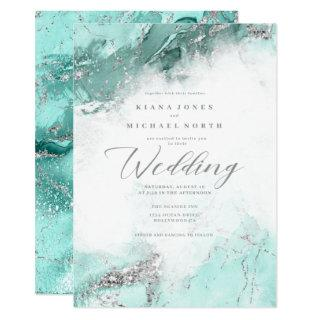 Marble Glitter Wedding Teal Silver ID644 Invitations