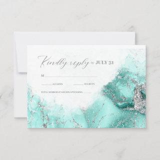 Marble Glitter Wedding Teal Silver ID644 RSVP Card