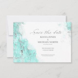 Marble Glitter Wedding Teal Silver ID644 Save The Date