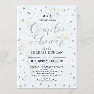 Marble & Polka dot | Silver Couples Wedding Shower Invitation