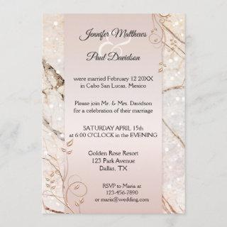 Marble Rose Gold Floral Post Wedding Invitations