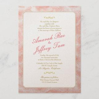 Marbled Wedding Invitation Gold Coral Typography