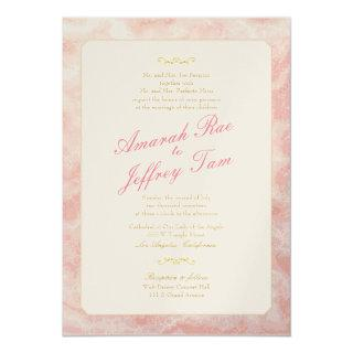 Marbled Wedding Invitations Gold Coral Typography