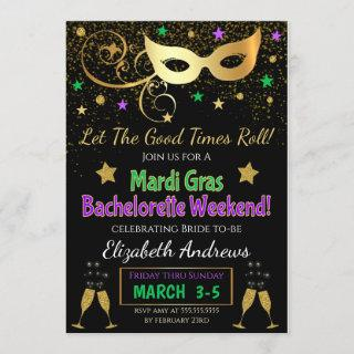 Mardi Gras Bachelorette Party Invitations