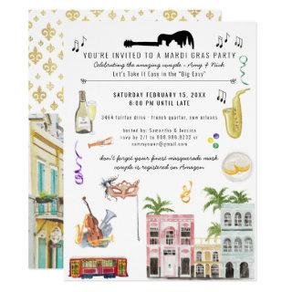 Mardi Gras Couple's Shower Invitations