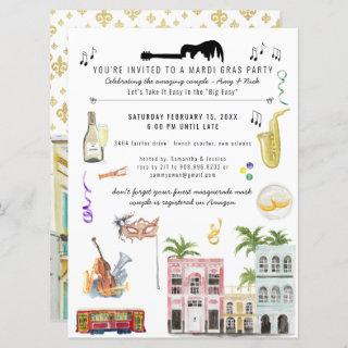 Mardi Gras Couple's Shower Invitation
