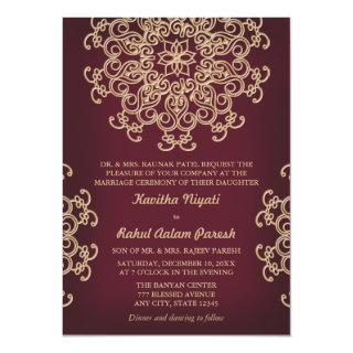 Maroon AND GOLD INDIAN STYLE WEDDING Invitations