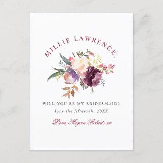 Maroon Blush Floral Will You Be My Bridesmaid? Invitation Postcard