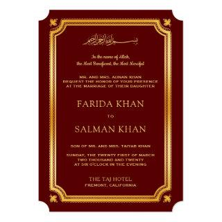 Maroon Gold Traditional Islamic Muslim Wedding Invitations