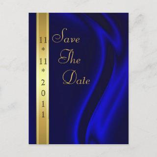 Marquis Blue Silk Gold Save The Date Postcard