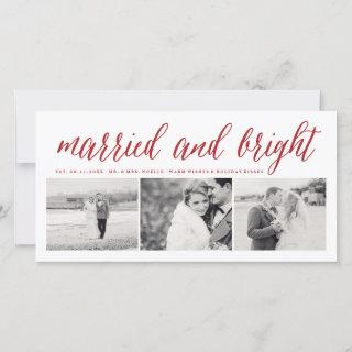 Married And Bright 3 Photo Collage Modern Wedding Holiday Card