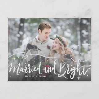 Married and Bright Whimsical Stars Wedding Photo Holiday Postcard