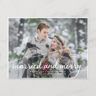 Married and Merry 2 Photo Swirly Script Holiday Postcard
