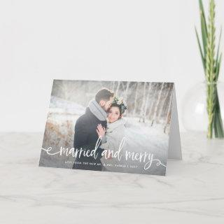 Married and Merry   Modern Rustic Christmas Photo Holiday Card