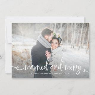 Married and Merry | Modern Rustic Christmas Photo Holiday Card