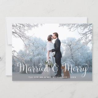 Married and Merry   Winter Bokeh with Photo Holiday Card