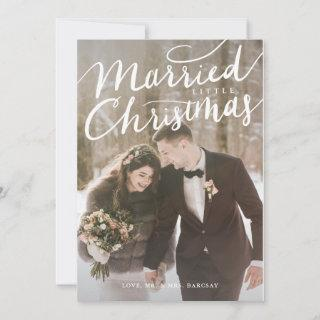 Married Little Christmas Wedding Photo Holiday Card