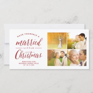 Married Little First Christmas Multi Photo Wedding Holiday Card