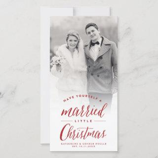 Married Little First Christmas Photo Wedding Holiday Card